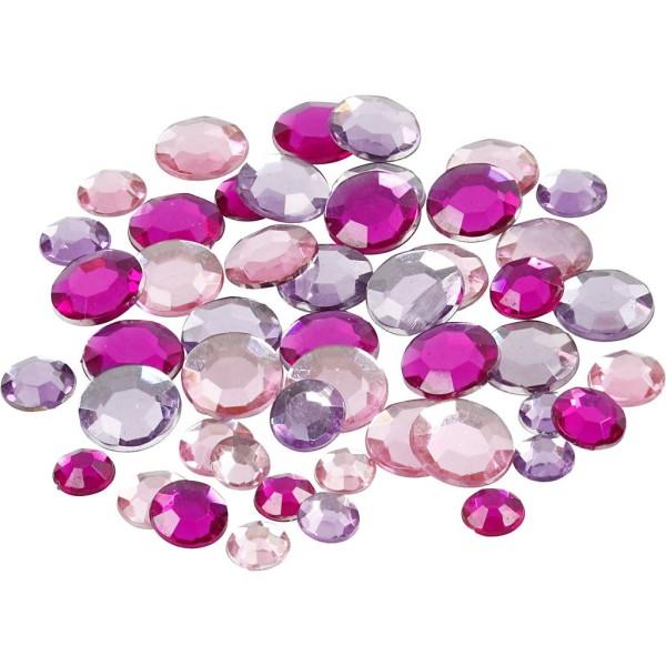 Strass pierres à coller ronds - Violet - 6 à 12 mm - 360 pcs - Photo n°1