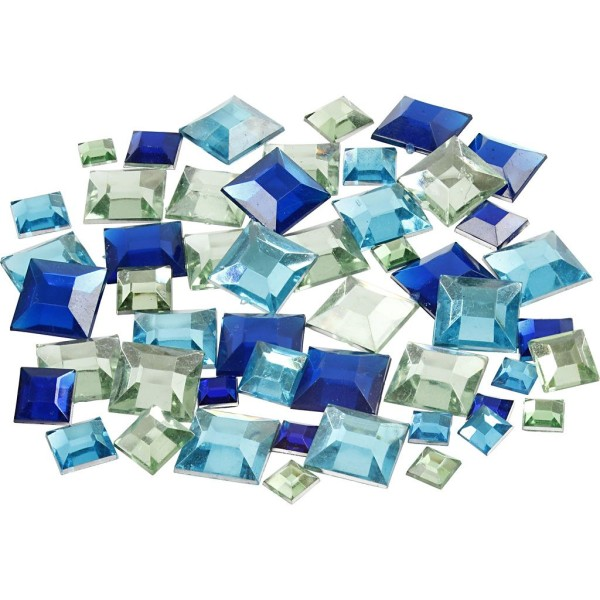 Strass pierres à coller carrés - Bleu - 6 à 12 mm - 360 pcs - Photo n°1