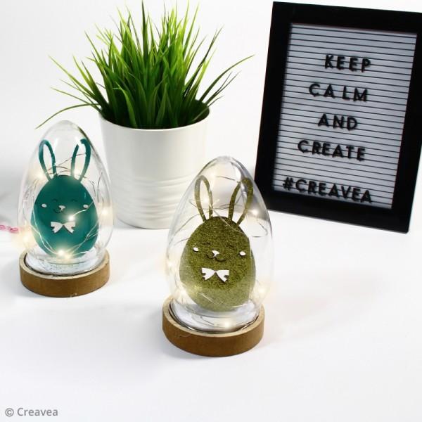 Cloche oeuf en plastique avec socle en bois - 19,5 cm - Photo n°2