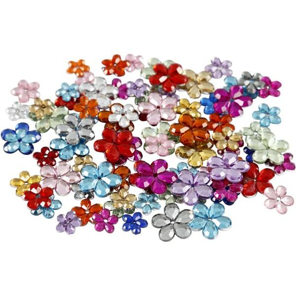 Assortiment de pierre de strass Fleurs - De 6 à 12 mm - 250 pcs environ - Photo n°1
