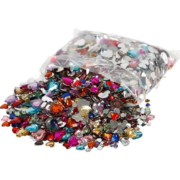 Assortiment de pierres de strass de couleurs - 6 à 14 mm - 2520 pcs - Photo n°1