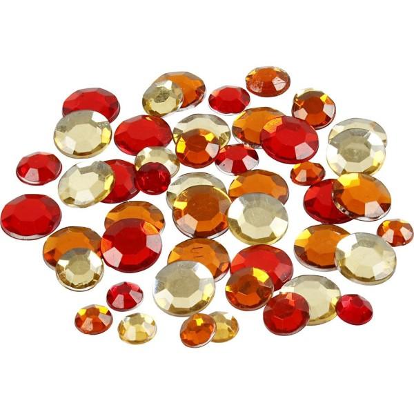 Strass pierres à coller ronds - Rouge - 6 à 12 mm - 360 pcs - Photo n°1