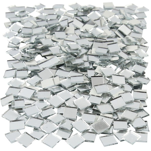 Mosaïque miroir carré à coller - 10 x 10 mm - 500 pcs - Photo n°1