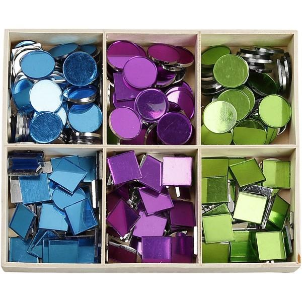 Assortiment de mosaïques miroirs - Carré et rond - 15 mm - 300 pcs - Photo n°1