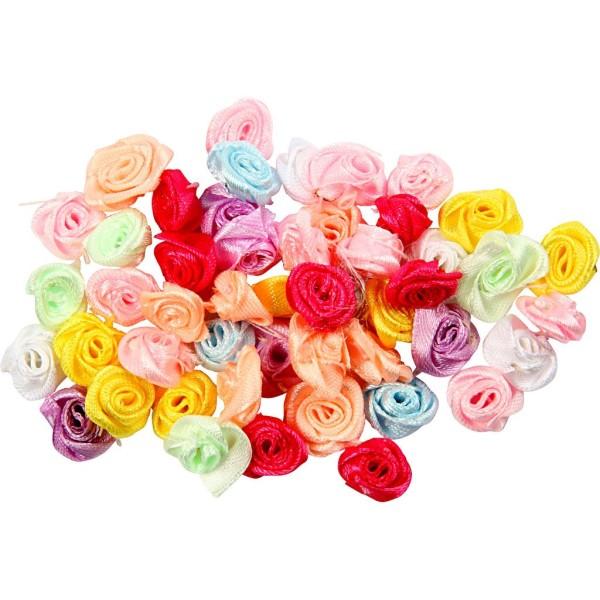 Assortiment de roses en satin - 14 à 18 mm - 50 pcs - Photo n°1