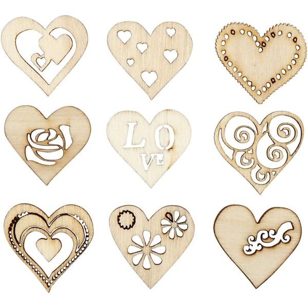 Assortiment de Coeurs en bois découpés - 2,8 cm - 45 pcs - Photo n°1