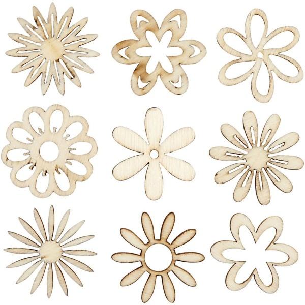 Assortiment de Fleurs en bois découpés - 2,8 cm - 45 pcs - Photo n°1