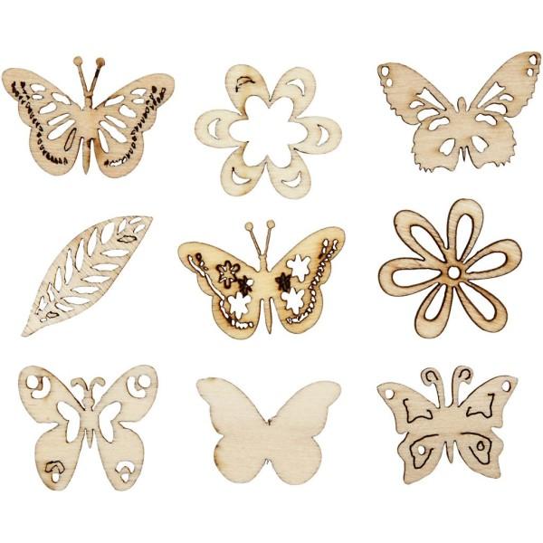 Assortiment de Papillons en bois découpés - 2,8 cm - 45 pcs - Photo n°1