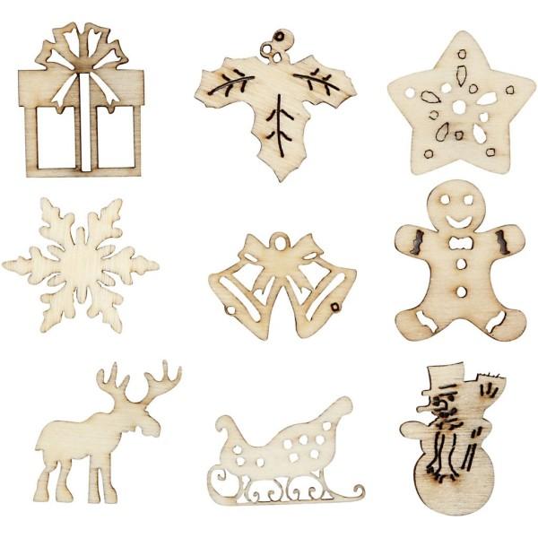 Mini formes en bois à décorer 28 mm - Noël - 45 pcs - Photo n°1