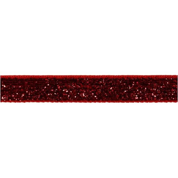 Ruban fantaisie brillant - Rouge - 1 cm x 5 m - Photo n°1