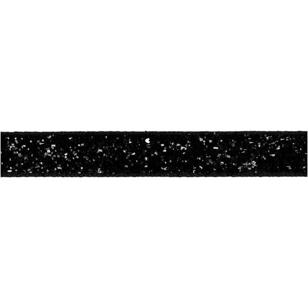 Ruban fantaisie brillant - Noir - 1 cm x 5 m - Photo n°1