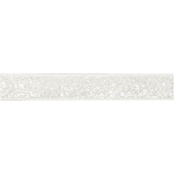 Ruban fantaisie brillant - Blanc - 1 cm x 5 m - Photo n°1