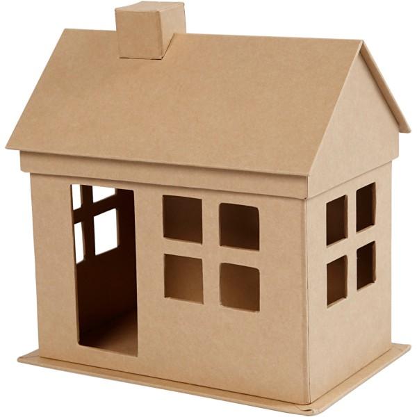 Maison en papier mâché à décorer - 8 x 8,8 x 8,8 cm