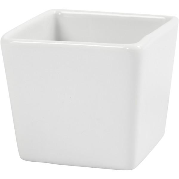 Bols carrés, dim. 6x6 cm, h: 5 cm, 12 pièces, blanc - Photo n°1