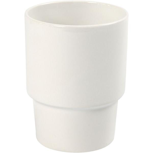 Tasse sans poignée en porcelaine blanche à décorer - 8,5 x 11 cm - Photo n°1