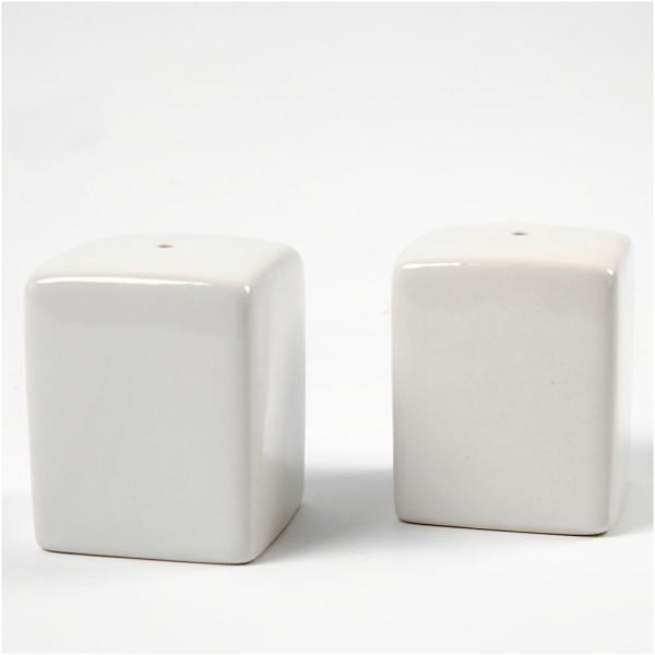 Set de sel et poivre, h: 6 cm, dim. 5x5 cm, 12 pièces, blanc - Photo n°1