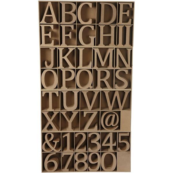 Lettres, chiffres et signes, h: 13 cm, ép. 2 cm, 160 pièces, MDF - Photo n°1