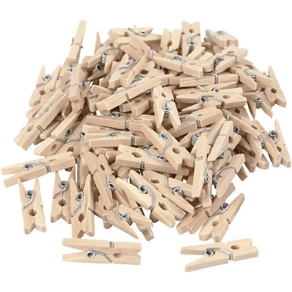 Mini pinces à linge en bois - 3 x 25 mm - 100 pcs - Photo n°1