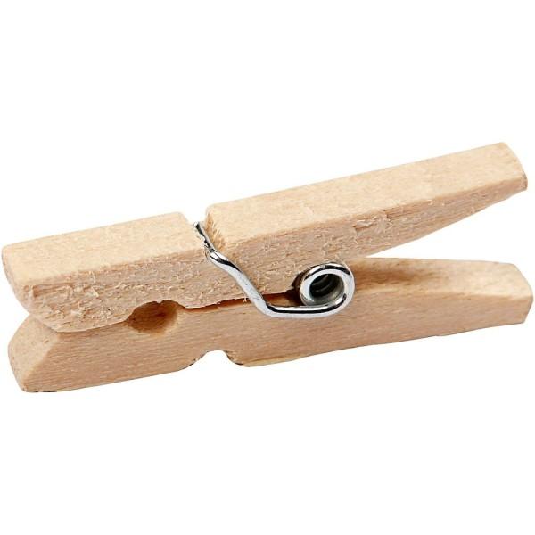 Mini-pinces à linge en bouleau - 30 x 3 mm - 30 pcs - Photo n°1