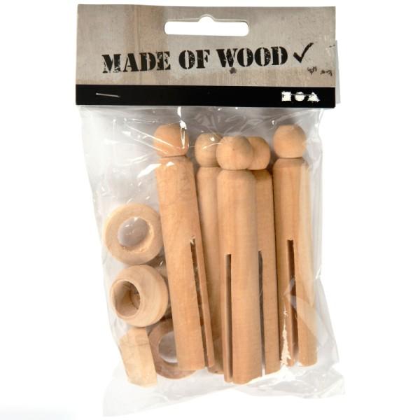 Pinces à linges à l'ancienne en bois brut - 5 pcs - Photo n°1