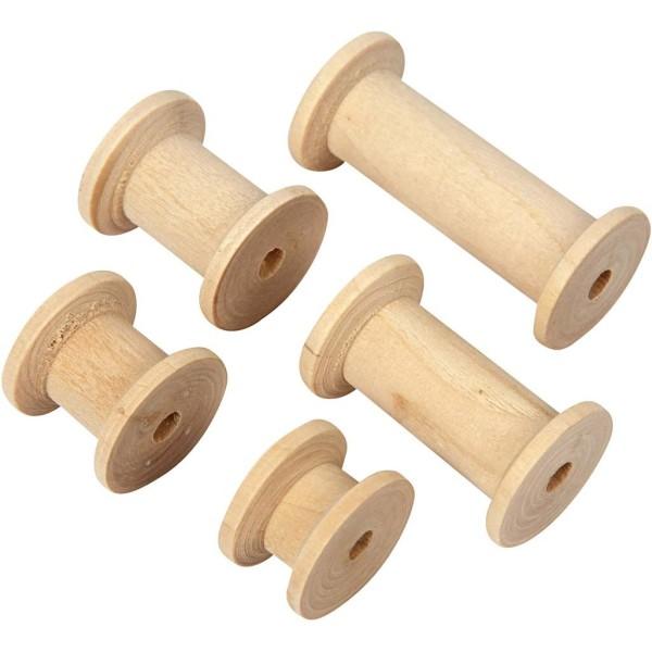 Bobines en bois vintage - 15 à 50 mm - 10 pcs - Photo n°1