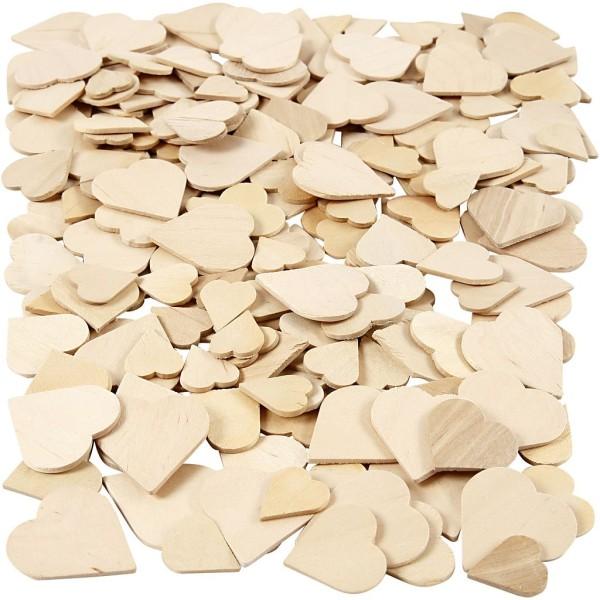 Coeurs en bois à décorer - 18 à 30 mm - 60 pcs environ - Photo n°1