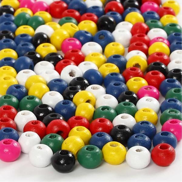 Mélange de perles en bois - Multicolore - 5 mm - 150 pcs environ - Photo n°1