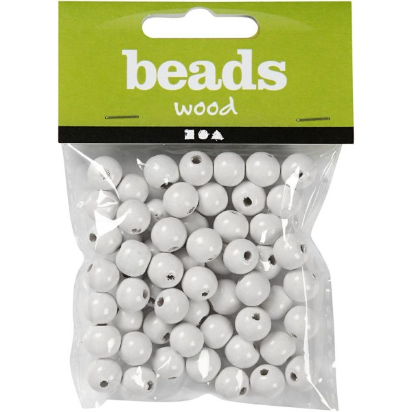 Perles en bois - Blanc - 12 mm - 40 pcs - Photo n°2