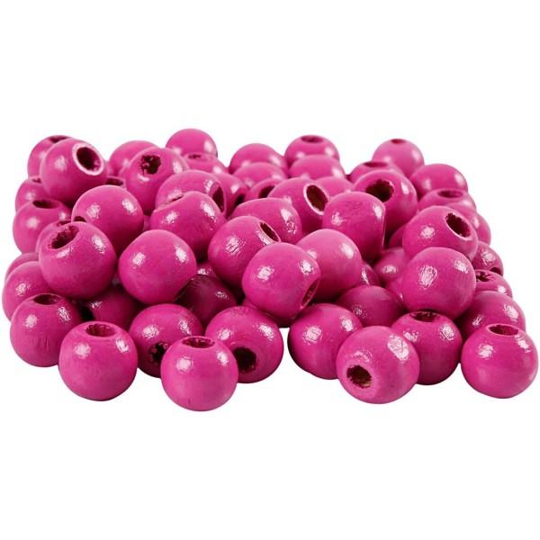 Perles en bois - Rose - 12 mm - 40 pcs - Photo n°1