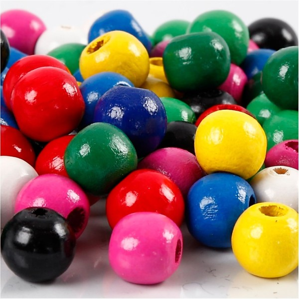Mélange de perles en bois - Multicolore - 10 mm - 680 pcs environ - Photo n°1