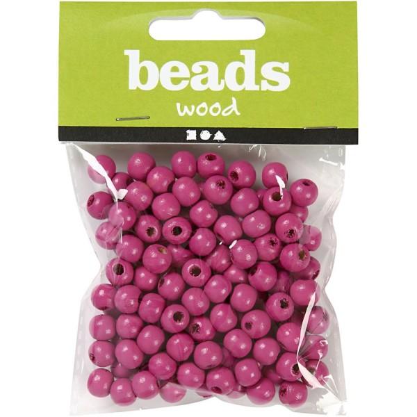 Perles en bois - Rose - 8 mm - 80 pcs - Photo n°2