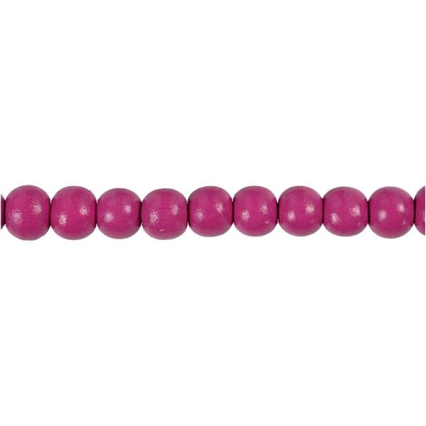 Perles en bois - Rose - 8 mm - 80 pcs - Photo n°3