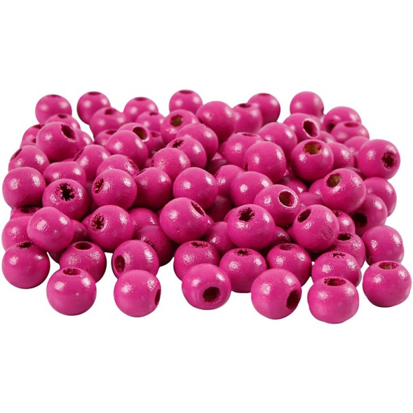 Perles en bois - Rose - 8 mm - 80 pcs - Photo n°1