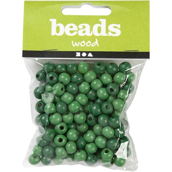 Perles en bois - Vert  - 8 mm - 80 pcs - Photo n°2