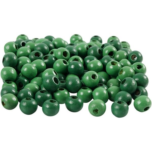 Perles en bois - Vert  - 8 mm - 80 pcs - Photo n°1