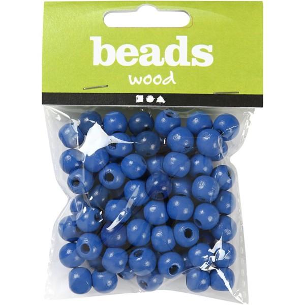 Perles en bois - Bleu  - 8 mm - 80 pcs - Photo n°2