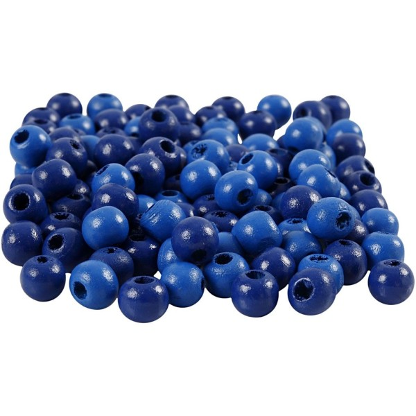 Perles en bois - Bleu  - 8 mm - 80 pcs - Photo n°1