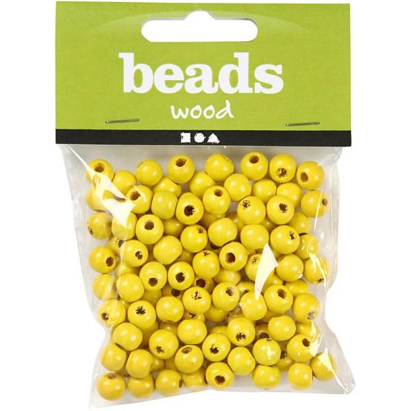 Perles en bois - Jaune - 10 mm - 70 pcs - Photo n°2