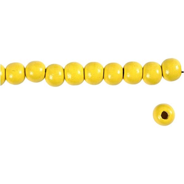 Perles en bois - Jaune - 10 mm - 70 pcs - Photo n°3