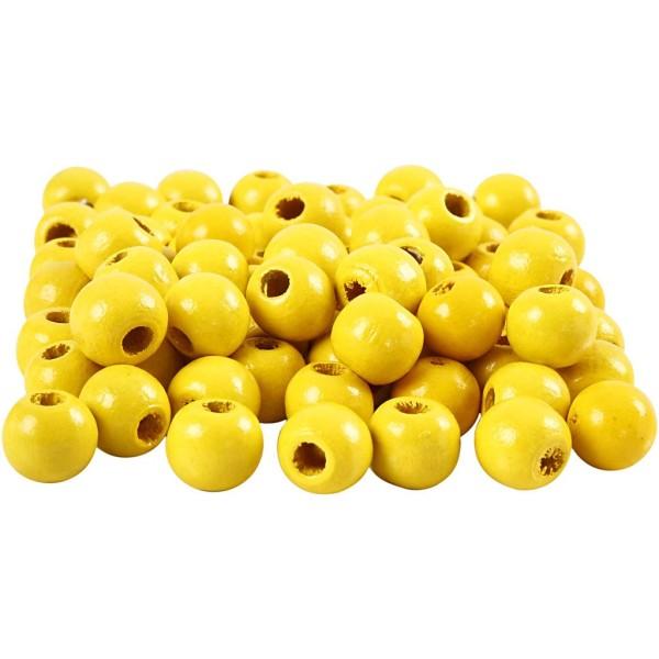 Perles en bois - Jaune - 10 mm - 70 pcs - Photo n°1