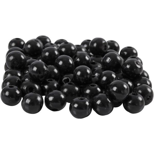 Perles en bois - Noir - 10 mm - 70 pcs - Photo n°1