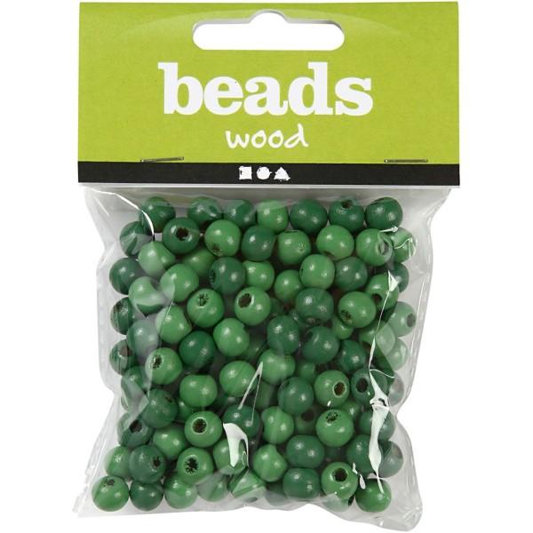 Perles en bois - Vert  - 10 mm - 70 pcs - Photo n°2