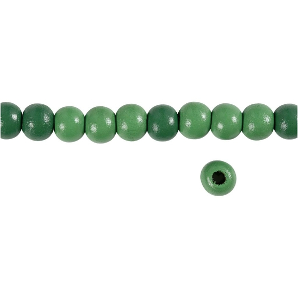 Perles en bois - Vert  - 10 mm - 70 pcs - Photo n°3
