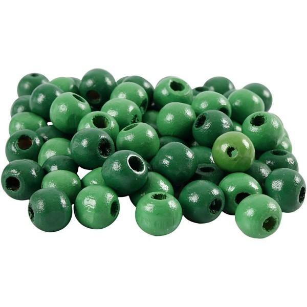Perles en bois - Vert  - 10 mm - 70 pcs - Photo n°1