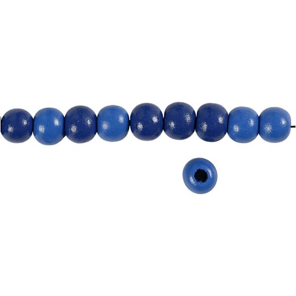 Perles en bois - Bleu  - 10 mm - 70 pcs - Photo n°3