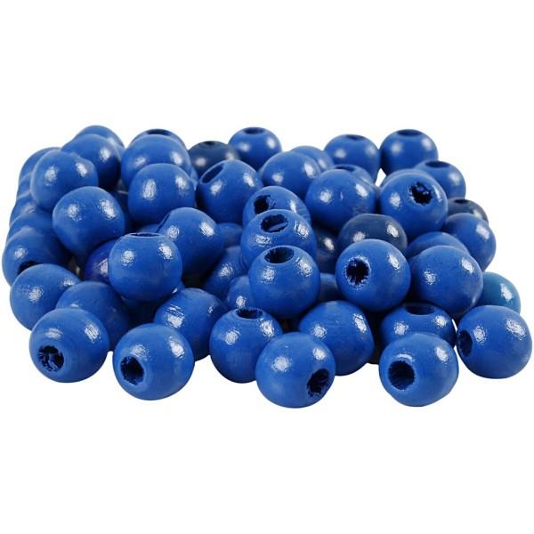 Perles en bois - Bleu  - 10 mm - 70 pcs - Photo n°1