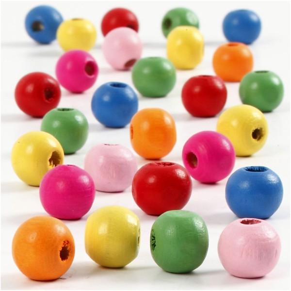 Assortiment de perles en bois multicolores 8 mm - 90 pcs environ - Photo n°1