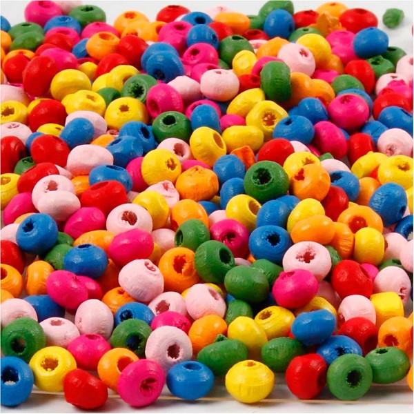 Mélange de perles en bois - Multicolore - 4 mm - 75 pcs environ - Photo n°1