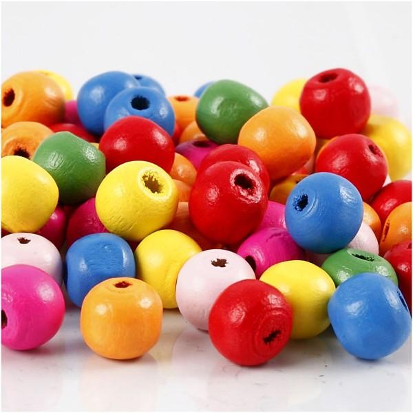 Assortiment de perles en bois - couleurs vives - 10 mm - 1500 pcs - Photo n°1