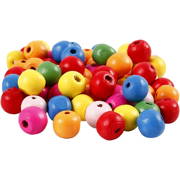 Mélange de perles en bois - Multicolore - 10 mm - 70 pcs environ - Photo n°1